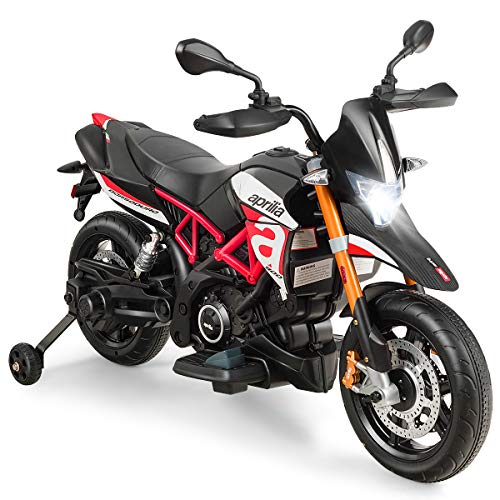 Costzon 12V Kids Motorcycle, Licensed Aprilia Electric...
